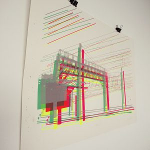 Pantograph Electricity cables power lines art screen print